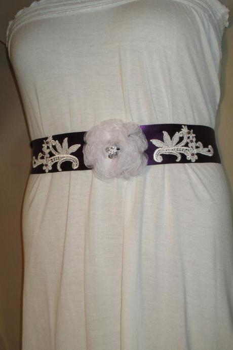 Bridal Sash - Wedding Sash - Eggplant Ribbon - White Lace - Purple Beads -Dress Sash - Handmade in Colorado