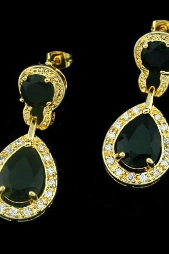 Luxurious 18KGP Black Cubic Zirconia Lady Earrings