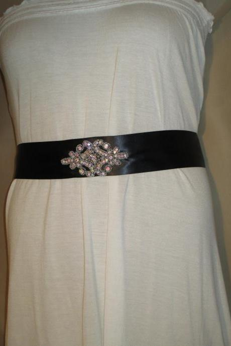Bridal Sash - Wedding Sash - Black Ribbon - Dress Sash - Rhinestone Applique Embellishment - Handmade in Colorado