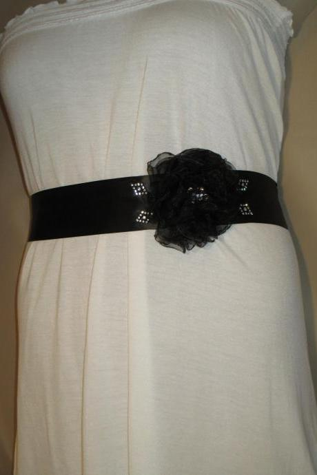 Bridal Sash - Wedding Sash - Black Ribbon - Dress Sash - Black Organza Flower - Rhinestone Embellishments - Handmade in Colorado