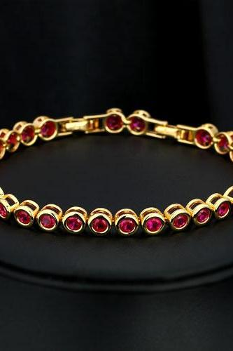 Luxurious 18KGP Red Cubic Zirconia Lady Bracelet