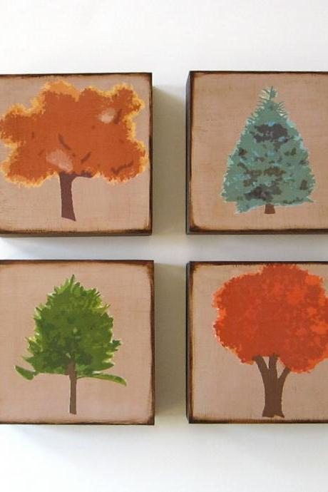 Forest of Trees Four Art Blocks Wood Brown Orange Red Green Blue Pine Maple Spruce Nature Natural Series Woodland Print