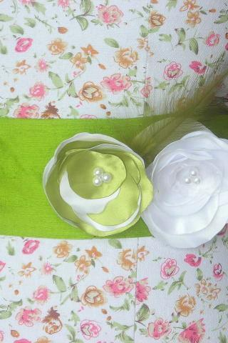 Dupioni Silk Bridal Sash in Pistacio with Green and white Flower Detail