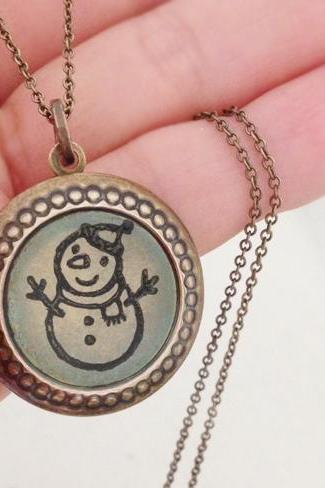 Vintage Locket Necklace, Snowman Necklace, Stamped Art, Christmas Gift, Funny Necklace