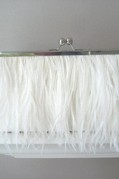 Valerie Dupioni Silk & Ostrich Feather Bridal Clutch in Ivory, Made to Order
