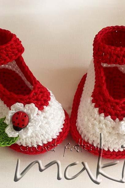 Crochet pattern - Ladybug ankle strap - Permission to sell finished items. Perfect for baby shower. Full of large pictures! Pattern No. 104