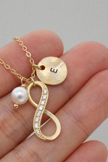 Infinity necklace, Personalized initial gold disc necklace, best friend necklace, coin, initial jewelry, Swarovski Pearl