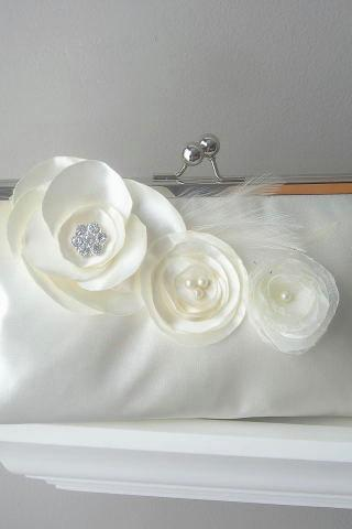 Princess - Ivory Satin Bridal Clutch with Fabric Flowers and Rhinestones and Feathers - Made to Order