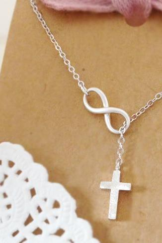 Infinity Cross Necklace, Cross Infinity Lariat Necklace, Cross and Infinity Lariat, Faith Forever