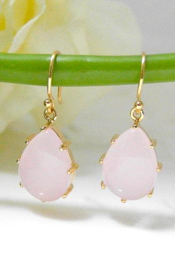 Pink drop earring - dainty bridal or everyday jewelry