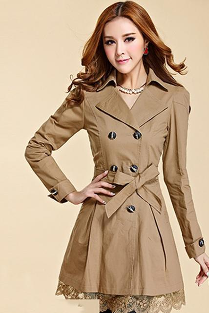 High Quality Double Breasted Coat - Khaki