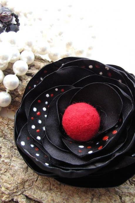 Handmade fabric flower brooch with hand painted petals - RED WHITE DOTS