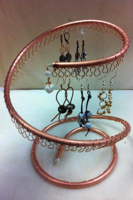 Spiral Copper Earring Tree Holder, Organizer. Holds approximately 40pairs of Earrings