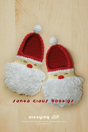 Santa Claus Toddler Booties Crochet PATTERN for Christmas Winter Holiday - Size 4 5 6 7 8 9 - Chart & Written Pattern