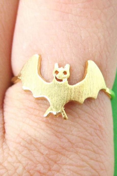 Smiling Bat Shaped Animal Ring in Gold - Size 6 Only