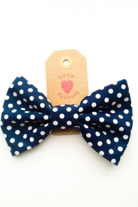 Handmade Lovely Bow Hair Clip Retro polka dot Navy White :) lovely mid century Sweet xoxoxo