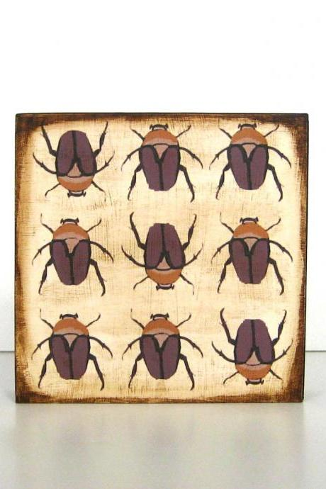 Nine Beetles Sepia Tones 5x5 art block wood block brown rust red tile studio