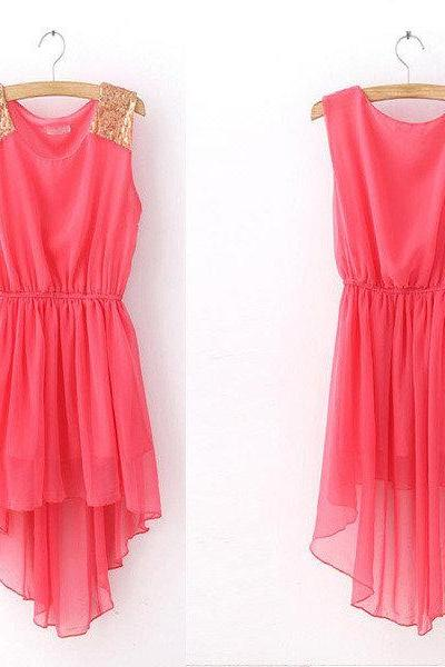 Pink High Low Dress with Gold Shining Shoulder
