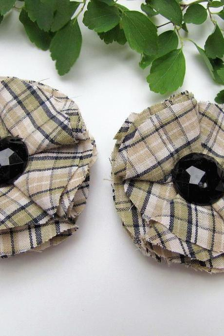 Shoe clips with handmade fabric flowers (set of 2 pcs )- GREEN PLAID COTTON