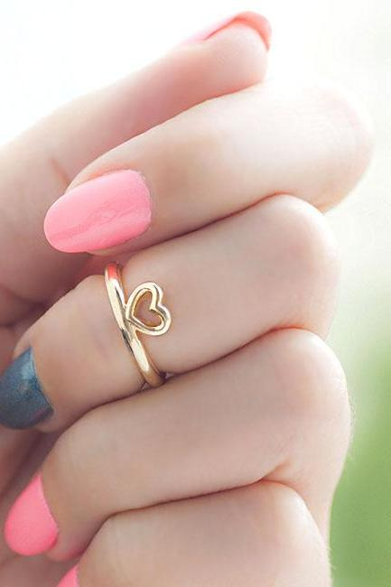 Gold Open Heart Knuckle Ring, Mini Pinky Ring