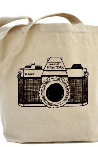 Tote bag, Shopping bag, Decoupage tote bag, Recycled Cotton Everyday Tote, Eco bag ,Eco friendly bag - Vintage camera