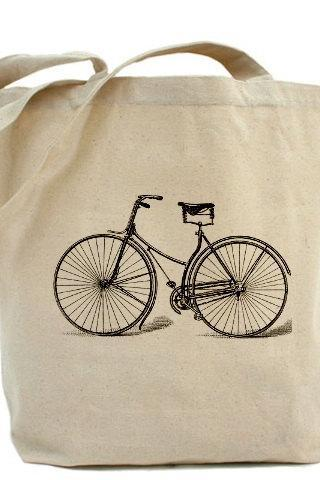 Tote bag, Shopping bag, Decoupage tote bag, Recycled Cotton Everyday Tote, Eco bag ,Eco friendly bag - Vintage Bicycle