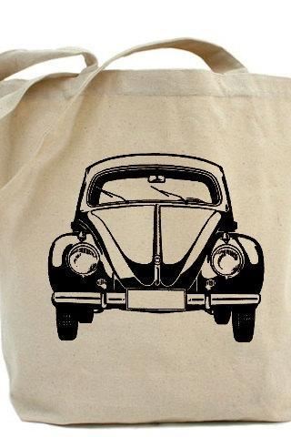 Tote bag, Shopping bag, Decoupage tote bag, Recycled Cotton Everyday Tote, Eco bag ,Eco friendly bag - VW Bus