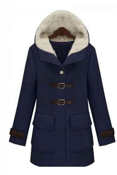 Women's Slim Fit Solid Color Hooded Long Woollen Coat Outwear - Navy Blue