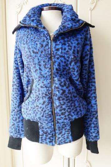 Soft Blue Leopard Thermal Coat w/ Turn-Down Collar