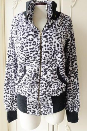 Soft Black and White Leopard Thermal Coat w/ Turn-Down Collar