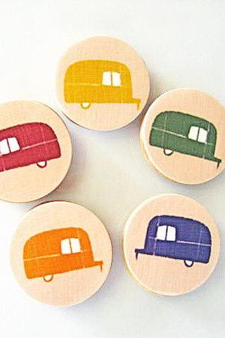FIve Airstream Trailer Magnets 1.5 inch round Yellow Green Orange Blue Red tile studio