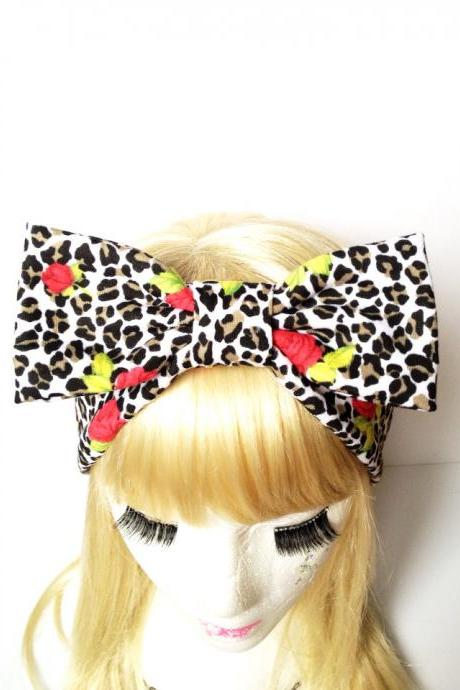 Lovely Leopard rose romantic bow headband :) Love Factory By Rie Miyamoto
