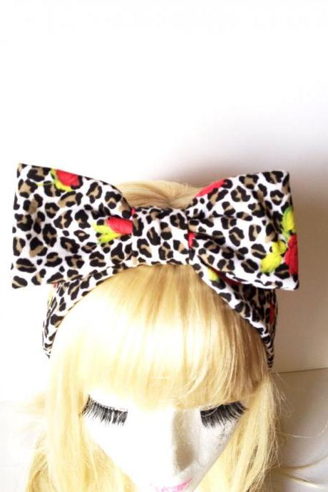Lovely Leopard rose Funky bow headband :) Love Factory By Rie Miyamoto