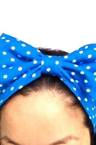 Handmade Lovely Bow Hair Band Bright Blue Dot Kawaii :) Stretch Comfortable Cute xoxoxo
