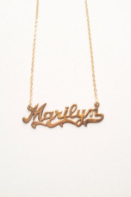 Vintage retro Marilyn gold plated necklace :) Cute lovely heart vintage chic