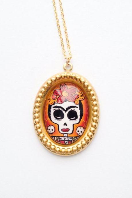 Art Deco Frida Kahlo skull pendant gold necklace :) Happy retro fun jewelry xoxo