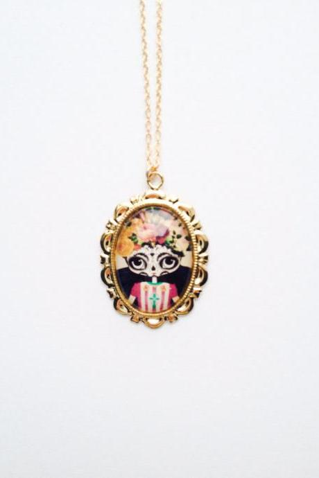 Art Deco Frida Kahlo skull girl pendant gold necklace :) Happy retro fun jewelry xoxo