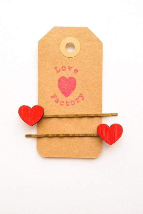 Red hot heart Retro handmade Wooden bobby pin 2pc :) Kitsch art retro Kawaii