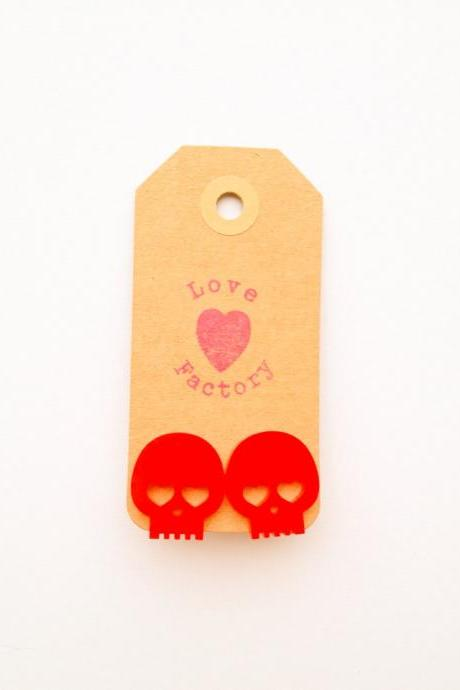Happy Lucky Skull in Love with human Red heart Laser Cut Charm Post Earring xoxoxo Very Kawaii love factory :)