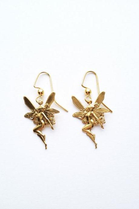 Vintage Gorgeous Fairy lovely gold Earring :) Retro Vintage charm Candy Bow Gold and Red