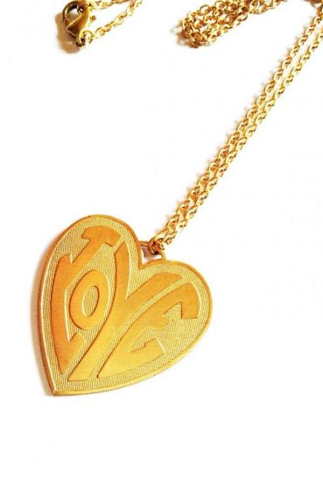 Love On Top Vintage Neckless :) Funky Retro Cool Sixties Retro LOVE letter Charm Super Cool xoxo