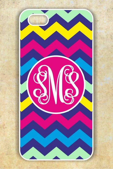 Monogrammed chevron Iphone 5 case - Personalized Hard Cases for Phones