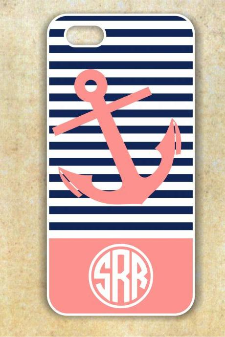 Monogrammed Anchor Iphone 4/4S Case - Nautical Monogram Case- Personalized Hard Cases for iphones