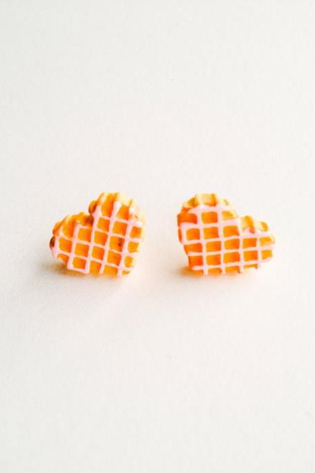 Happy Sweets Time waffle heart Cookies Yummy Earring :) Happy Lovely Cute Kawaii Jewelry for Kids and Girls xoxo Love Factory