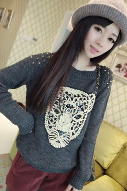 Winter Essential Leopard Head Print Pullovers - Dark Grey