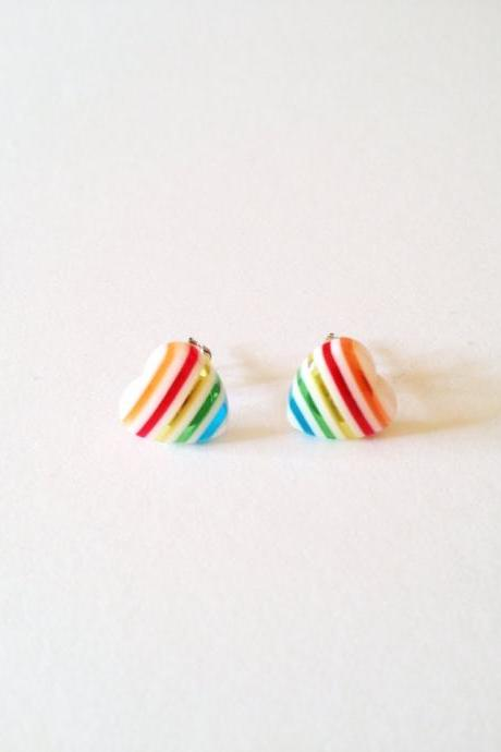 Rainbow Candy Heart Bright Post Earring :) Happy Lovely Cute Kawaii Jewelry for Kids and Girls xoxo Love Factory