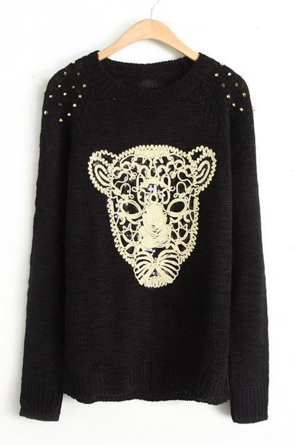 Winter Essential Leopard Head Print Pullovers - Black