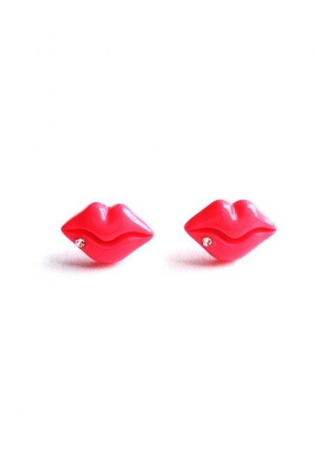Happy Sexy Cute Hot Lip Pink Resin Post earring Adorable Earring :) Happy Lovely Cute Kawaii Jewelry for Kids and Girls xoxo Love Factory