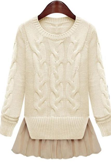 Fashion Two Piece Pattern Round Neck Cable Sweaters with Lace - Beige
