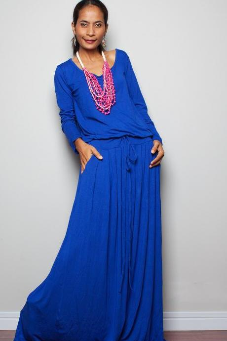 Royal Blue Maxi Dress - Long Sleeve dress
